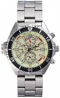 Chris Benz Chronograph 200m mit Metallarmband - Neon