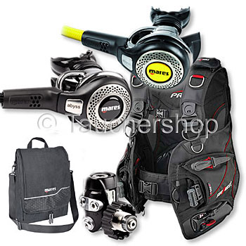 Mares Abyss 52 + Octopus Abyss + Sea Quest QD I3 + Tasche